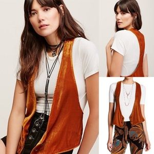 Free people new with Tags velvet vest in honey